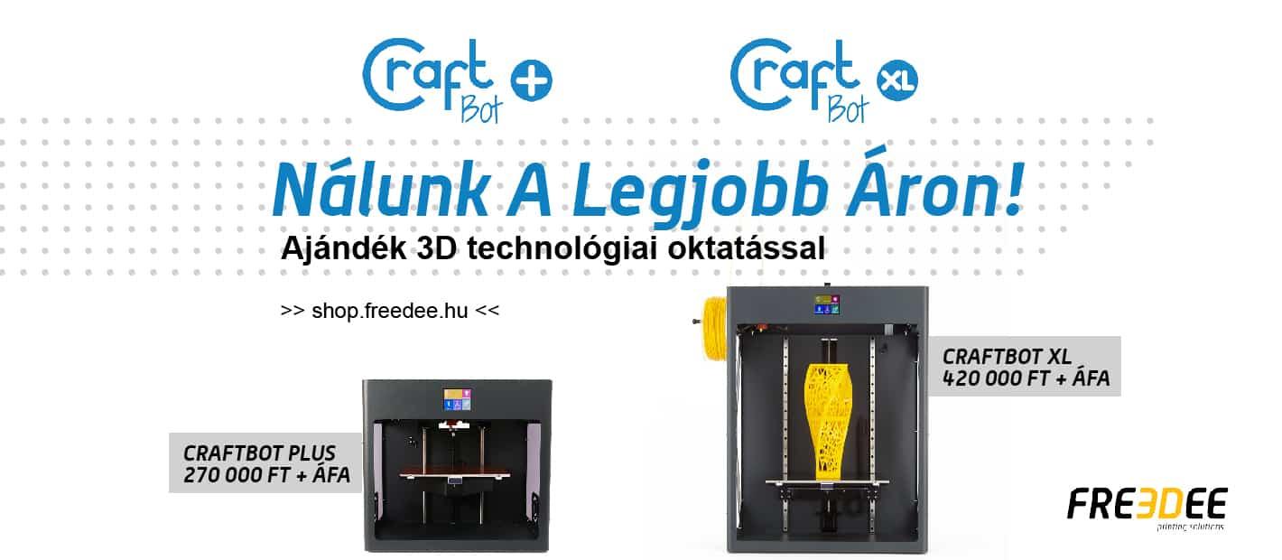 Craftbot 3D nyomtatók a legolcsóbban