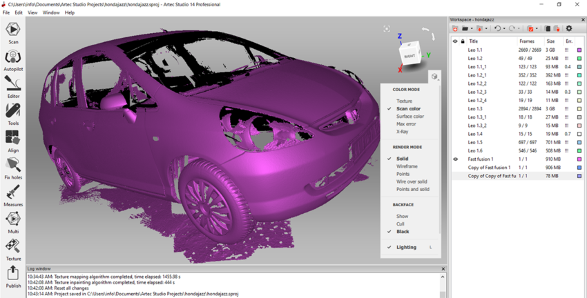 Honda Jazz 3D szkennelése