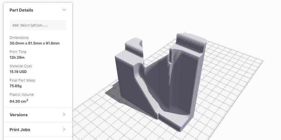 3D modell a Markforged Eiger szoftverben