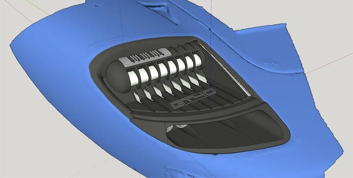 Ford GT40 fényszóró 3D modellje